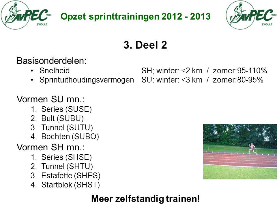 Opzet sprinttrainingen 2012 - 2013 3. Deel 2 Basisonderdelen: • Snelheid SH; winter: <2 km / zomer:95-110% • Sprintuithoudingsvermogen SU: winter: <3