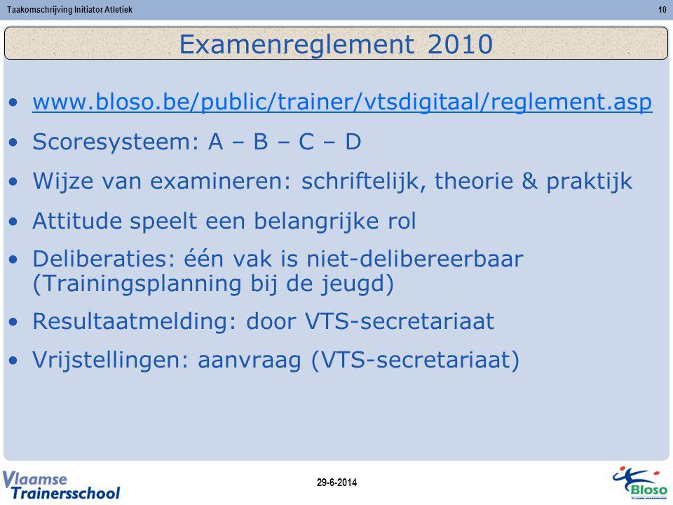 29-6-2014 Taakomschrijving Initiator Atletiek10 Examenreglement 2010 •www.bloso.be/public/trainer/vtsdigitaal/reglement.aspwww.bloso.be/public/trainer/vtsdigitaal/reglement.asp •Scoresysteem: A – B – C – D •Wijze van examineren: schriftelijk, theorie & praktijk •Attitude speelt een belangrijke rol •Deliberaties: één vak is niet-delibereerbaar (Trainingsplanning bij de jeugd) •Resultaatmelding: door VTS-secretariaat •Vrijstellingen: aanvraag (VTS-secretariaat)