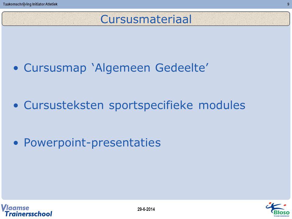 29-6-2014 Taakomschrijving Initiator Atletiek9 Cursusmateriaal •Cursusmap 'Algemeen Gedeelte' •Cursusteksten sportspecifieke modules •Powerpoint-presentaties