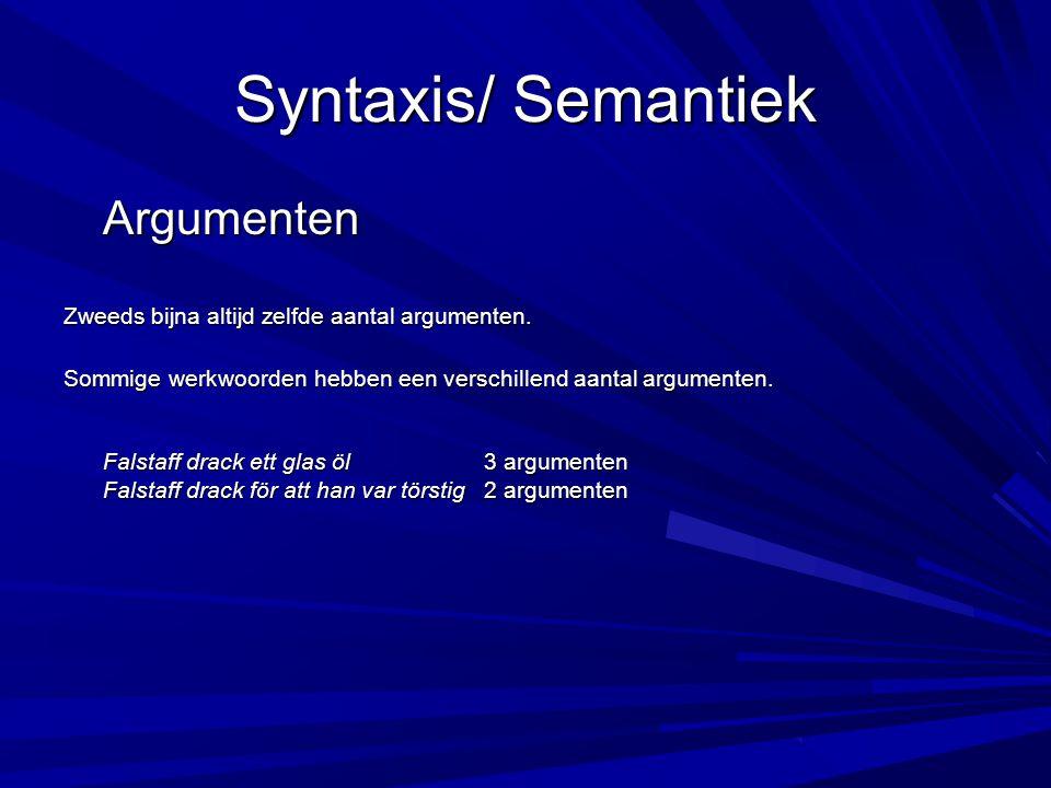 Syntaxis/ Semantiek Negatie Om de woorden aan de linkerkant te ontkennen, wordt er in het Nederlands een 'n' voor gezet : iets-niets iemand-niemand ergens-nergens ooit-nooit In de Zweedse taal veranderen de worden compleet: någonting– ingenting någon –ingen någonstans –ingenstans någonsin – aldrig