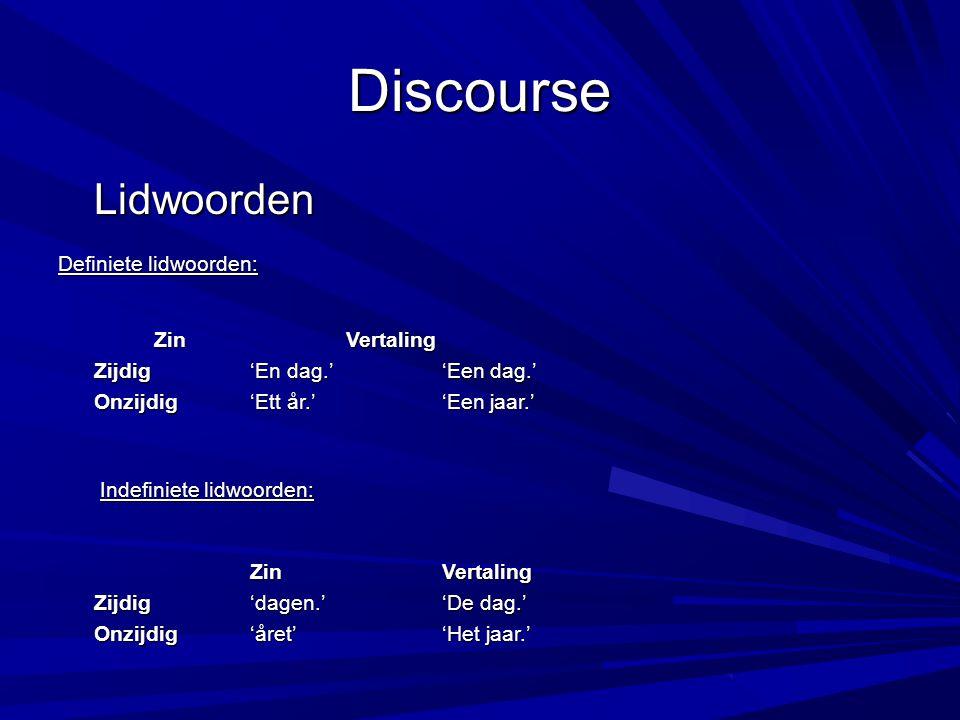 Discourse Pronomina Het Zweeds kent pronomina.