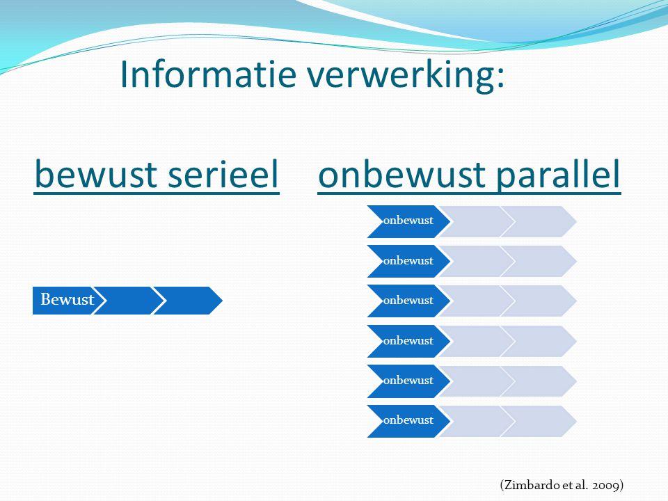Informatie verwerking: bewust serieel onbewust parallel Bewust onbewust (Zimbardo et al. 2009)