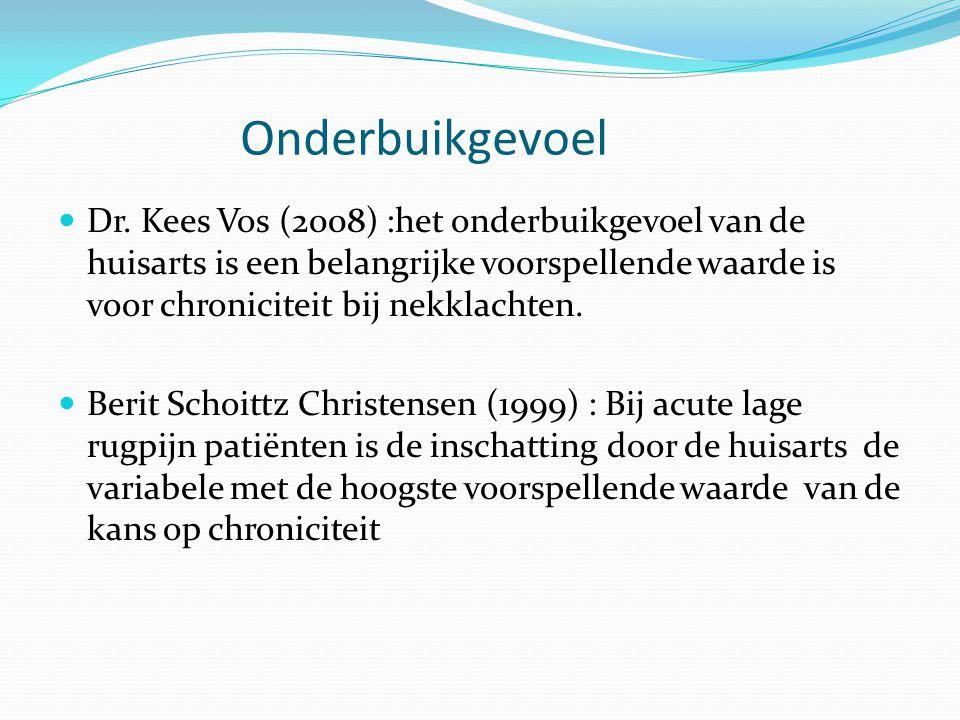 Onderbuikgevoel  Dr. Kees Vos (2008) :het onderbuikgevoel van de huisarts is een belangrijke voorspellende waarde is voor chroniciteit bij nekklachte