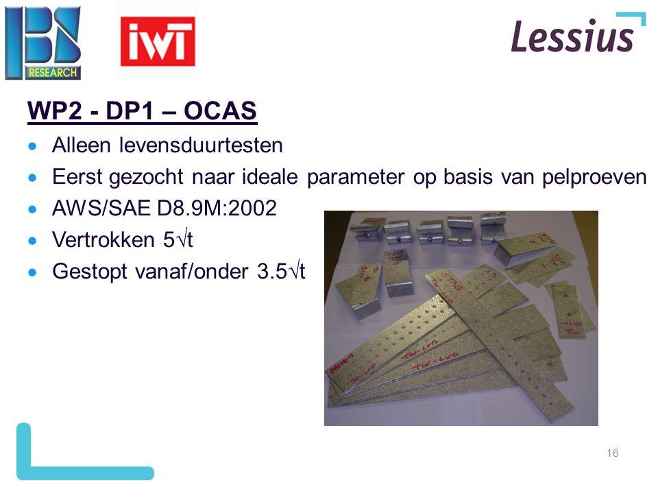 16 WP2 - DP1 – OCAS  Alleen levensduurtesten  Eerst gezocht naar ideale parameter op basis van pelproeven  AWS/SAE D8.9M:2002  Vertrokken 5  t 