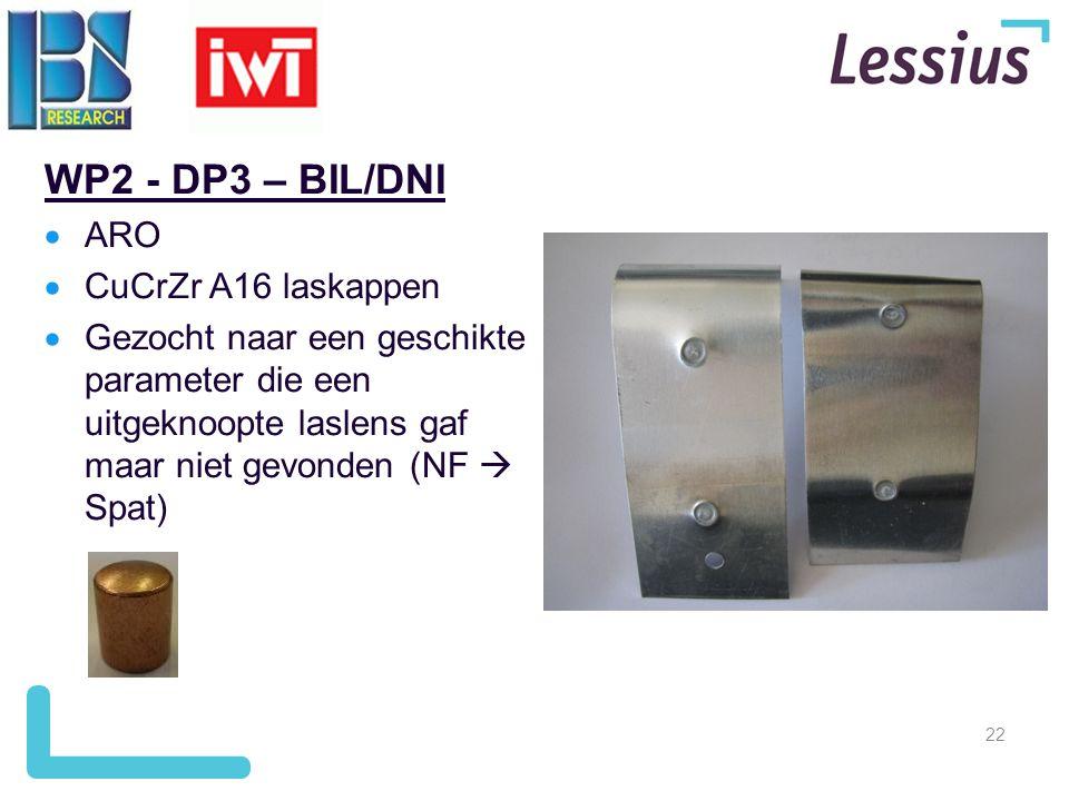 22 WP2 - DP3 – BIL/DNI  ARO  CuCrZr A16 laskappen  Gezocht naar een geschikte parameter die een uitgeknoopte laslens gaf maar niet gevonden (NF  S