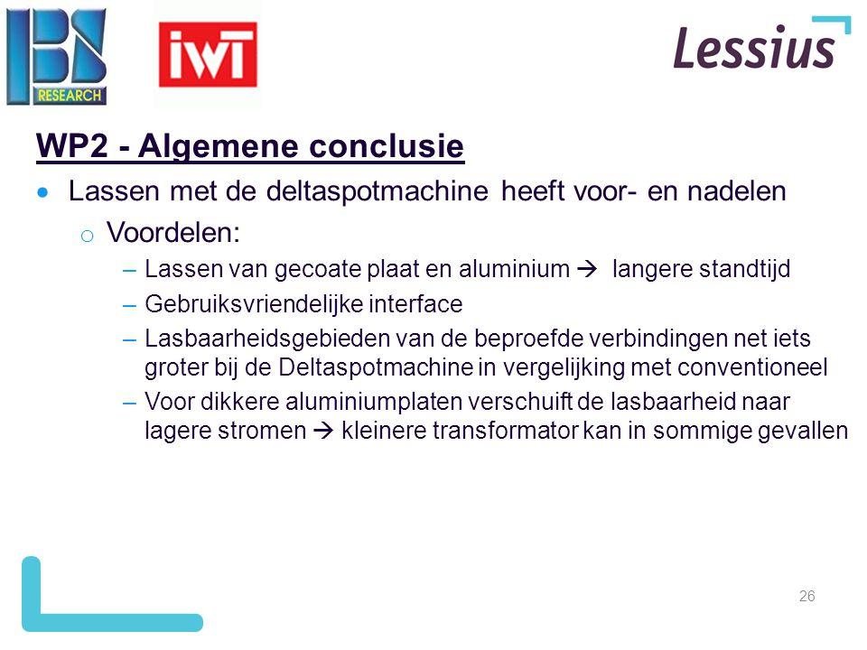 26 WP2 - Algemene conclusie  Lassen met de deltaspotmachine heeft voor- en nadelen o Voordelen: –Lassen van gecoate plaat en aluminium  langere stan