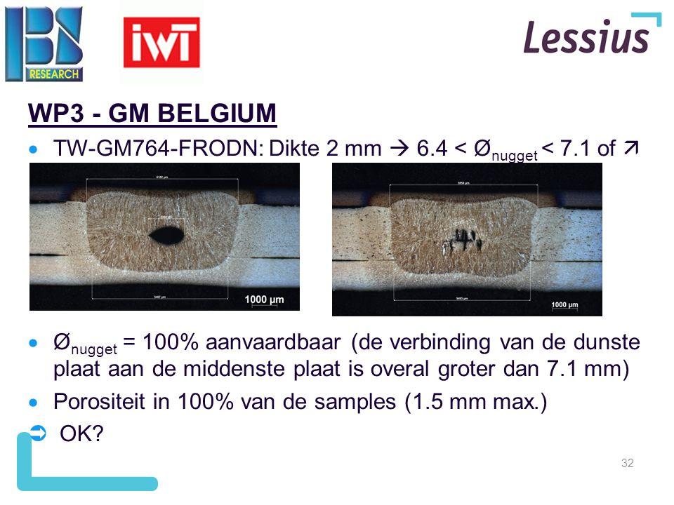 32 WP3 - GM BELGIUM  TW-GM764-FRODN: Dikte 2 mm  6.4 < Ø nugget < 7.1 of   Ø nugget = 100% aanvaardbaar (de verbinding van de dunste plaat aan de