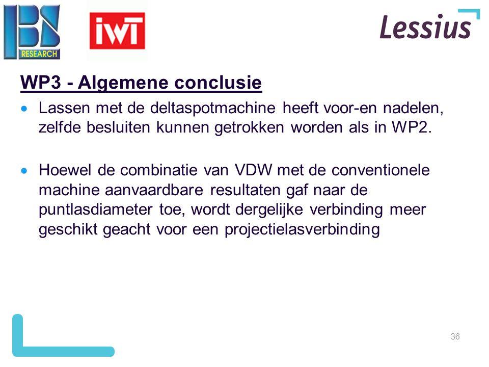 36 WP3 - Algemene conclusie  Lassen met de deltaspotmachine heeft voor-en nadelen, zelfde besluiten kunnen getrokken worden als in WP2.  Hoewel de c