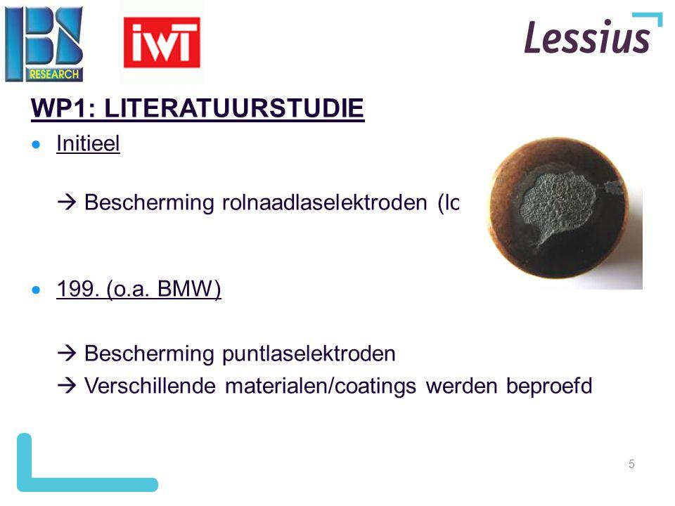 5 WP1: LITERATUURSTUDIE  Initieel  Bescherming rolnaadlaselektroden (lost wire)  199. (o.a. BMW)  Bescherming puntlaselektroden  Verschillende ma