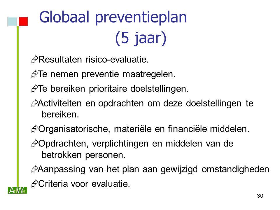 30 Globaal preventieplan (5 jaar)  Resultaten risico-evaluatie.  Te nemen preventie maatregelen.  Te bereiken prioritaire doelstellingen.  Activit