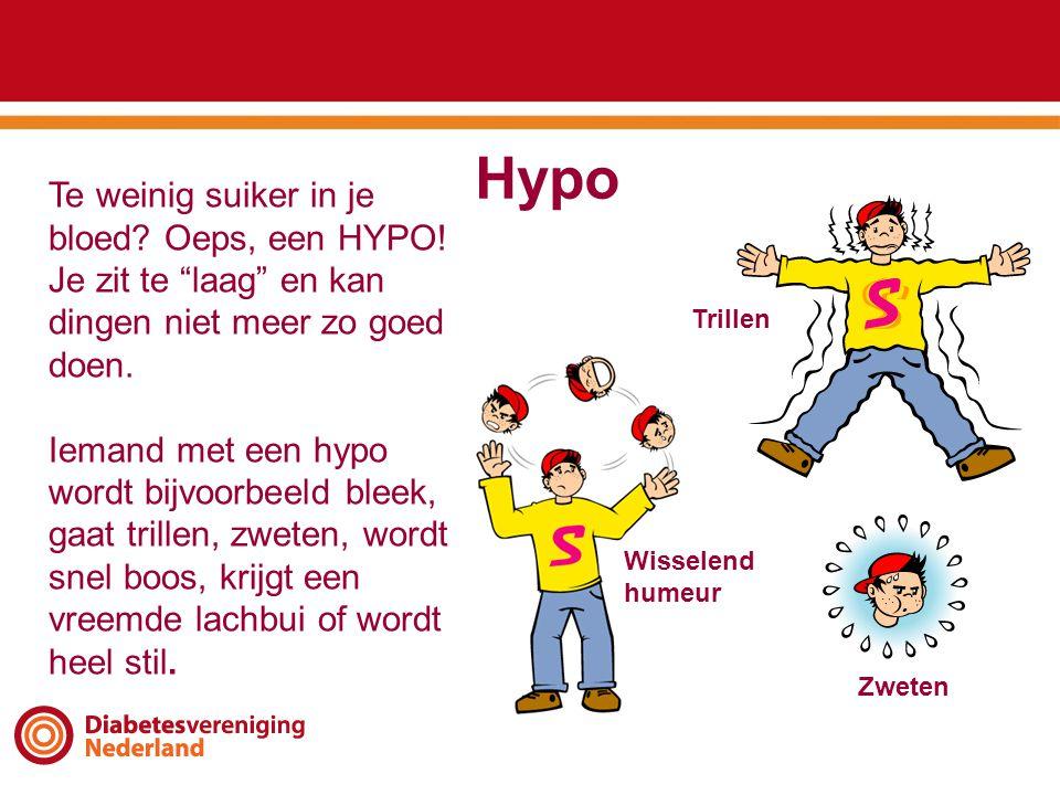 """Hypo Te weinig suiker in je bloed? Oeps, een HYPO! Je zit te """"laag"""" en kan dingen niet meer zo goed doen. Iemand met een hypo wordt bijvoorbeeld bleek"""