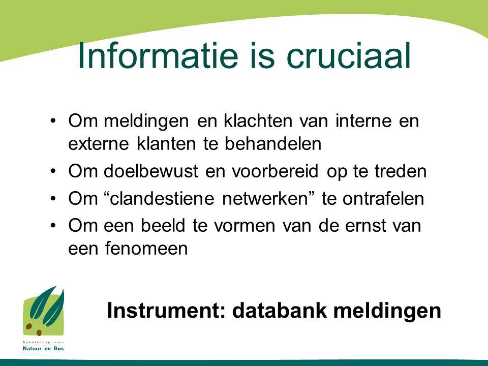 Informatie is cruciaal •Om meldingen en klachten van interne en externe klanten te behandelen •Om doelbewust en voorbereid op te treden •Om clandestiene netwerken te ontrafelen •Om een beeld te vormen van de ernst van een fenomeen Instrument: databank meldingen
