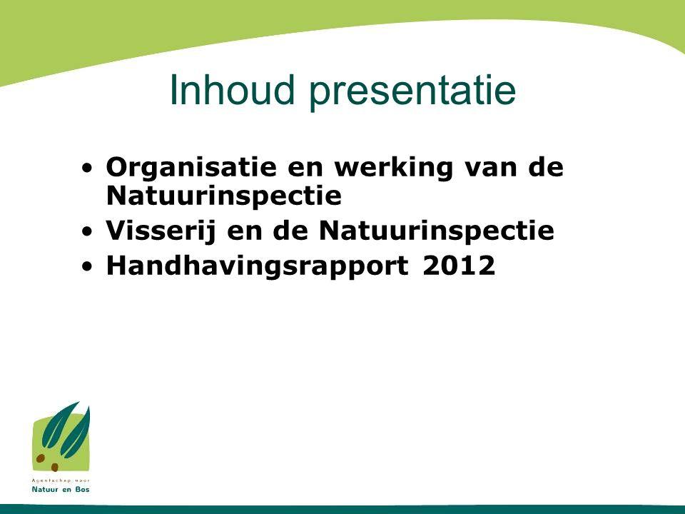 Inhoud presentatie •Organisatie en werking van de Natuurinspectie •Visserij en de Natuurinspectie •Handhavingsrapport 2012
