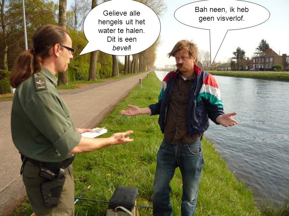 Bah neen, ik heb geen visverlof. Gelieve alle hengels uit het water te halen. Dit is een bevel!