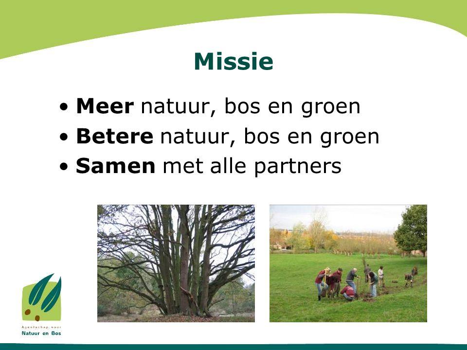 Missie •Meer natuur, bos en groen •Betere natuur, bos en groen •Samen met alle partners
