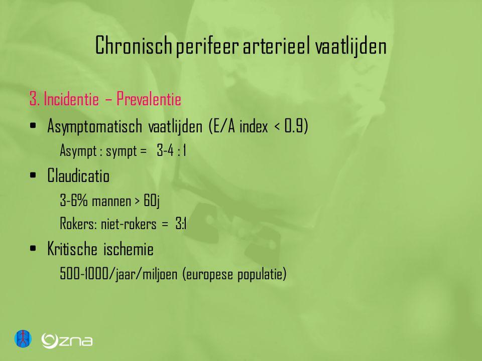 Chronisch perifeer arterieel vaatlijden 3. Incidentie – Prevalentie •Asymptomatisch vaatlijden (E/A index < 0.9) Asympt : sympt = 3-4 : 1 •Claudicatio