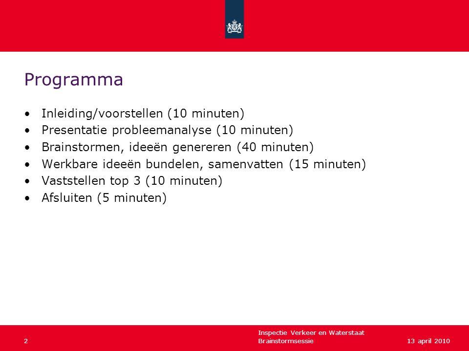 Inspectie Verkeer en Waterstaat Brainstormsessie213 april 2010 Programma •Inleiding/voorstellen (10 minuten) •Presentatie probleemanalyse (10 minuten)