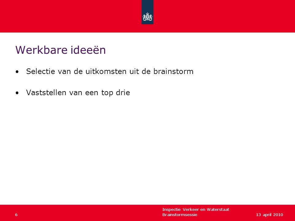 Inspectie Verkeer en Waterstaat Brainstormsessie613 april 2010 Werkbare ideeën •Selectie van de uitkomsten uit de brainstorm •Vaststellen van een top