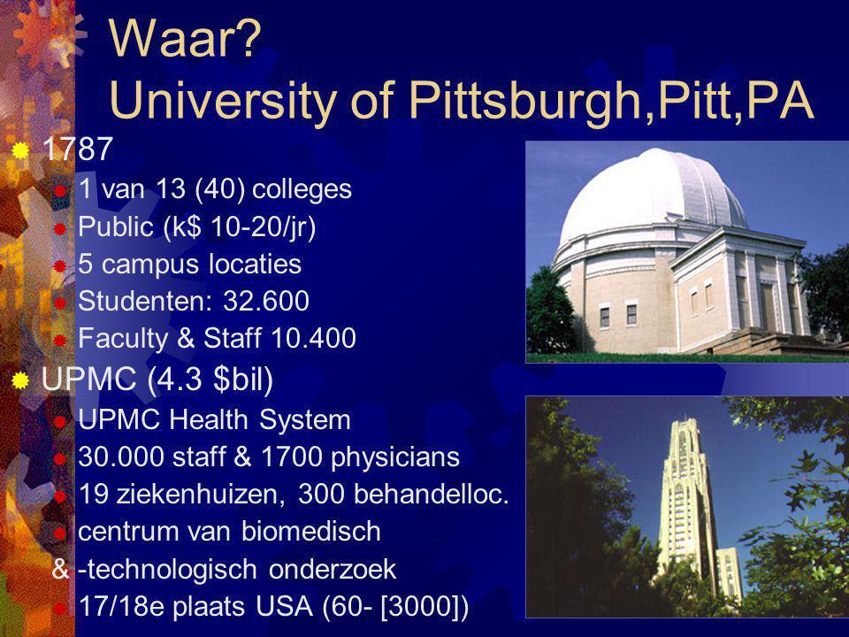 Waar? University of Pittsburgh,Pitt,PA  1787  1 van 13 (40) colleges  Public (k$ 10-20/jr)  5 campus locaties  Studenten: 32.600  Faculty & Staf