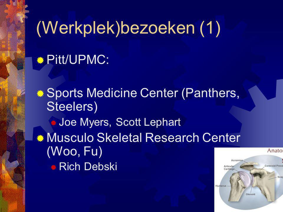  Pitt/UPMC:  Sports Medicine Center (Panthers, Steelers)  Joe Myers, Scott Lephart  Musculo Skeletal Research Center (Woo, Fu)  Rich Debski (Werkplek)bezoeken (1)