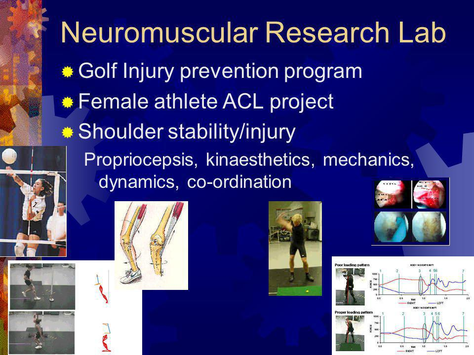 Neuromuscular Research Lab  Golf Injury prevention program  Female athlete ACL project  Shoulder stability/injury Propriocepsis, kinaesthetics, mechanics, dynamics, co-ordination