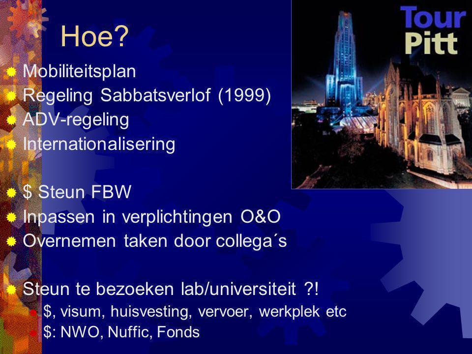 Hoe?  Mobiliteitsplan  Regeling Sabbatsverlof (1999)  ADV-regeling  Internationalisering  $ Steun FBW  Inpassen in verplichtingen O&O  Overneme