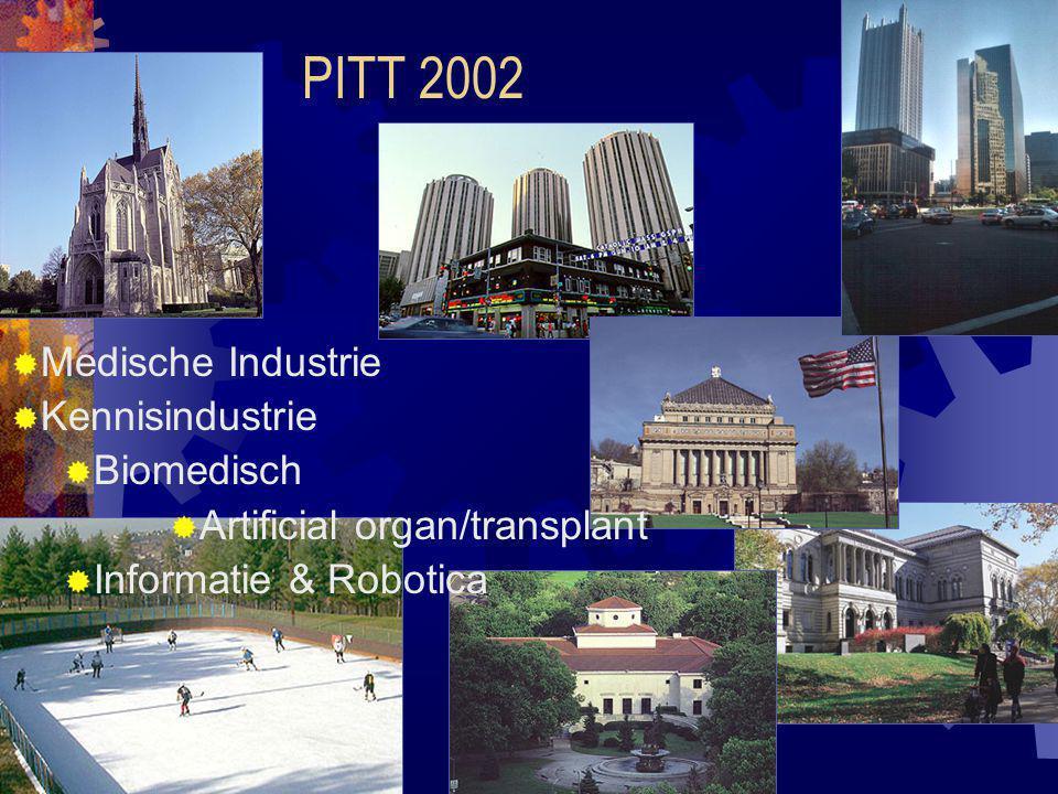 PITT 2002  Medische Industrie  Kennisindustrie  Biomedisch  Artificial organ/transplant  Informatie & Robotica