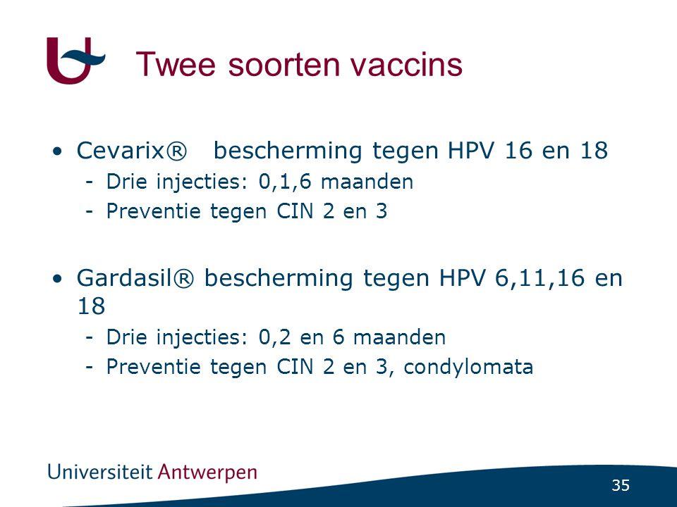 35 Twee soorten vaccins •Cevarix® bescherming tegen HPV 16 en 18 -Drie injecties: 0,1,6 maanden -Preventie tegen CIN 2 en 3 •Gardasil® bescherming teg