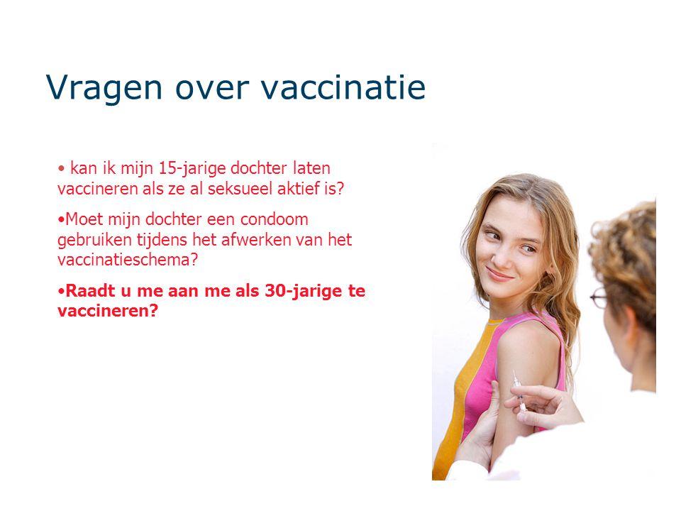 Vragen over vaccinatie • kan ik mijn 15-jarige dochter laten vaccineren als ze al seksueel aktief is? •Moet mijn dochter een condoom gebruiken tijdens