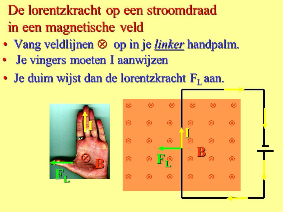 Het B-veld van een rechte stroomdraad • Teken de veldlijnen van de draad: B I  IB