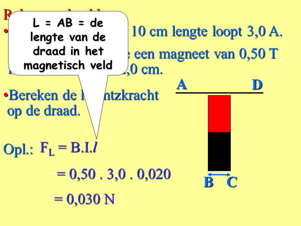 • F L = lorentzkracht (N) De grootte van de lorentzkracht op een stroomdraad in een magnetisch veld F L = B.I.l (BINAS tabel 35.5) I lB N.B.: De richt