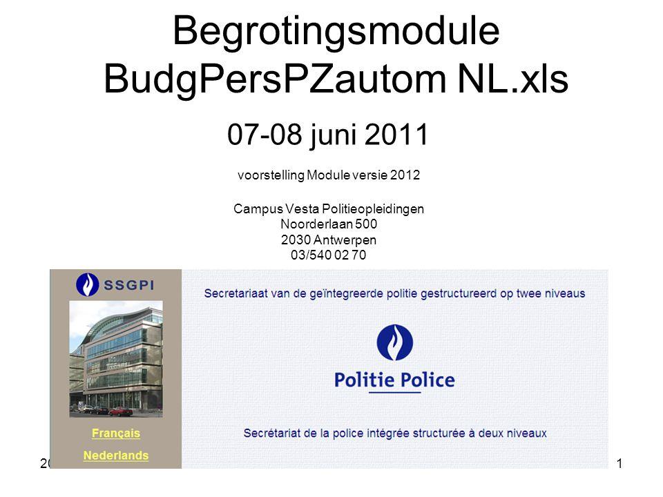 2011-06-07/081 Begrotingsmodule BudgPersPZautom NL.xls 07-08 juni 2011 voorstelling Module versie 2012 Campus Vesta Politieopleidingen Noorderlaan 500