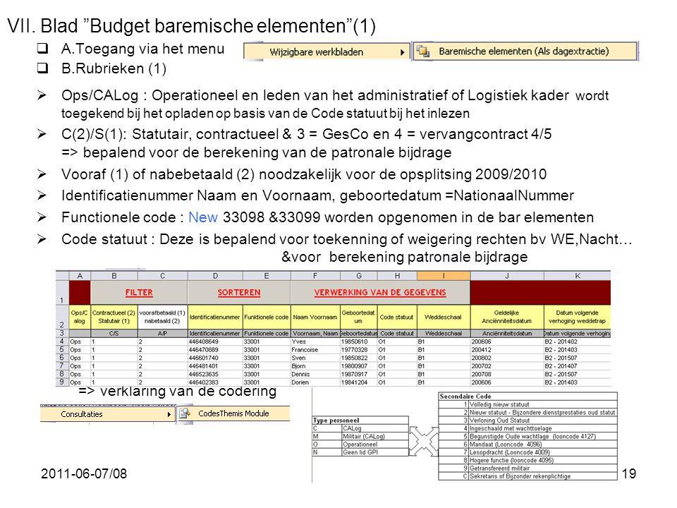 """2011-06-07/0819 VII. Blad """"Budget baremische elementen""""(1)  A.Toegang via het menu  B.Rubrieken (1)  Ops/CALog : Operationeel en leden van het admi"""