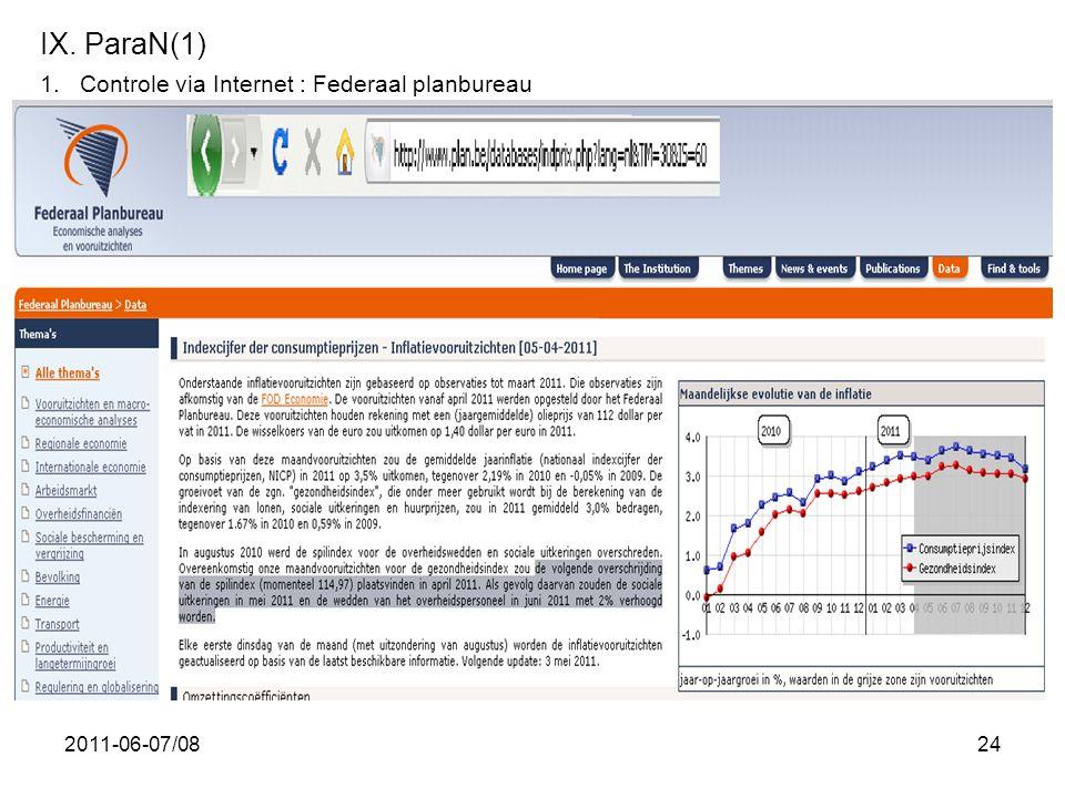 2011-06-07/0824 IX. ParaN(1) 1.Controle via Internet : Federaal planbureau