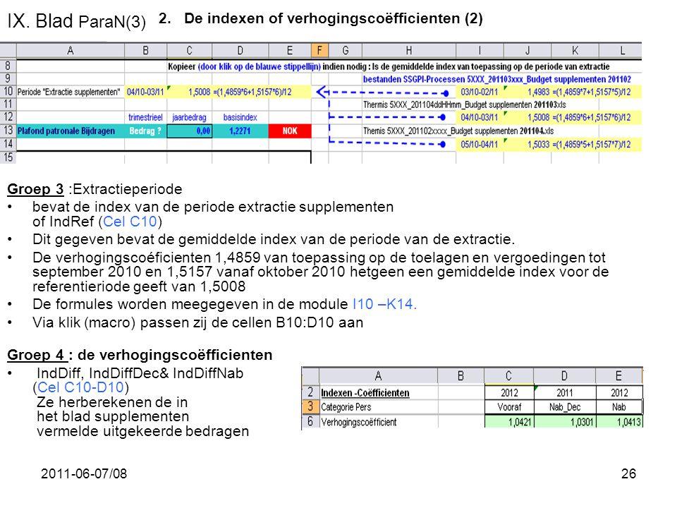 2011-06-07/0826 IX. Blad ParaN(3) Groep 3 :Extractieperiode •bevat de index van de periode extractie supplementen of IndRef (Cel C10) •Dit gegeven bev