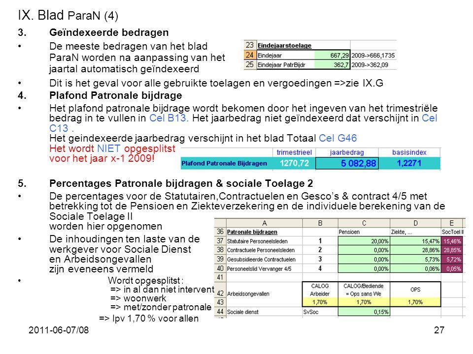2011-06-07/0827 IX. Blad ParaN (4) 3.Geïndexeerde bedragen •De meeste bedragen van het blad ParaN worden na aanpassing van het jaartal automatisch geï