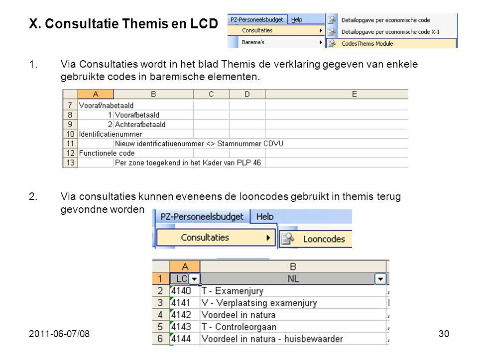 2011-06-07/0830 X. Consultatie Themis en LCD 1.Via Consultaties wordt in het blad Themis de verklaring gegeven van enkele gebruikte codes in baremisch