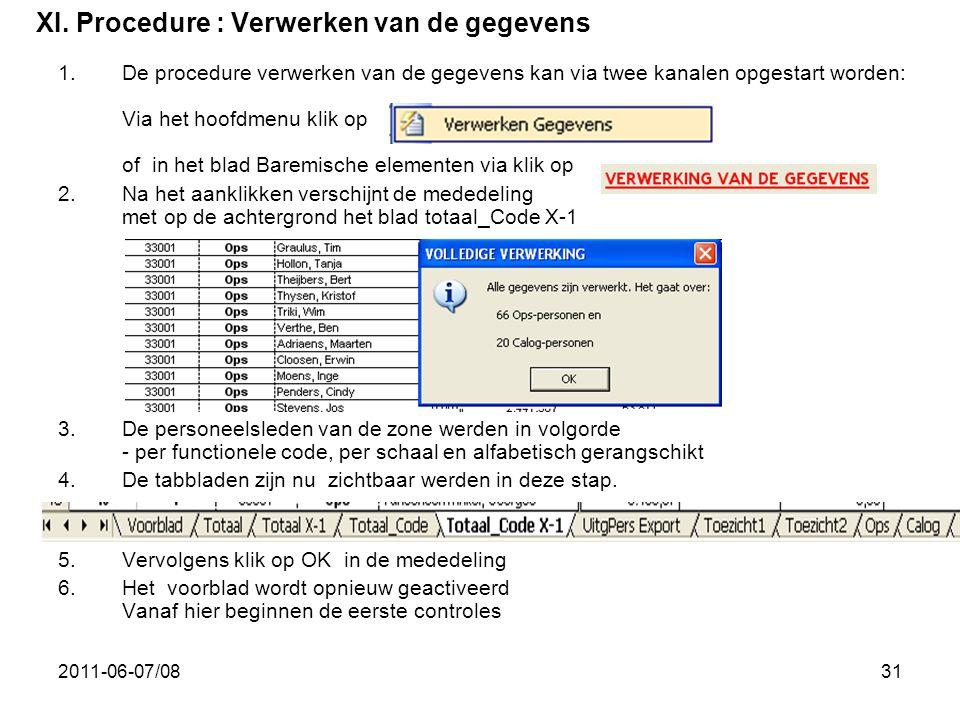 2011-06-07/0831 XI. Procedure : Verwerken van de gegevens 1.De procedure verwerken van de gegevens kan via twee kanalen opgestart worden: Via het hoof
