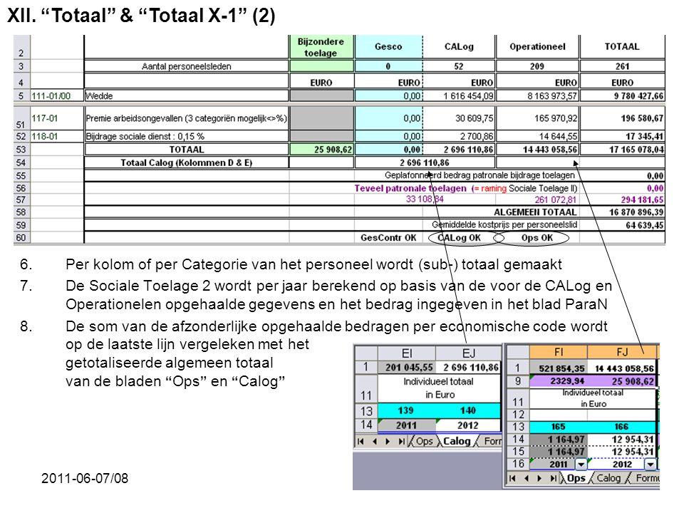 2011-06-07/0833 6.Per kolom of per Categorie van het personeel wordt (sub-) totaal gemaakt 7.De Sociale Toelage 2 wordt per jaar berekend op basis van