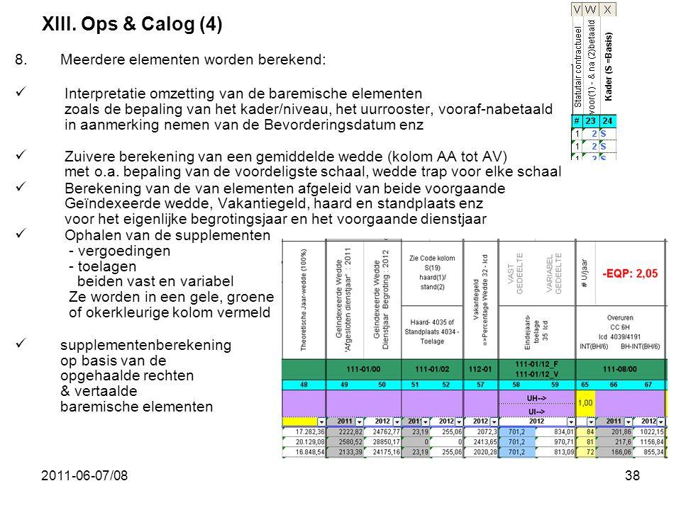 2011-06-07/0838 8.Meerdere elementen worden berekend:  Interpretatie omzetting van de baremische elementen zoals de bepaling van het kader/niveau, he