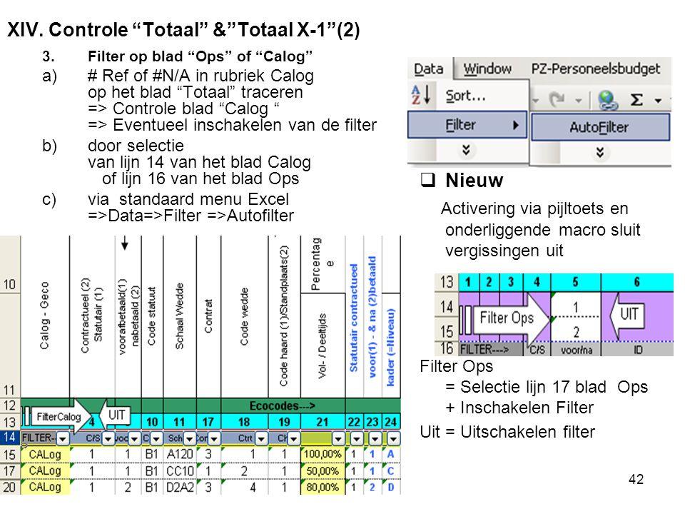 "2011-06-07/0842 XIV. Controle ""Totaal"" &""Totaal X-1""(2) 3.Filter op blad ""Ops"" of ""Calog"" a)# Ref of #N/A in rubriek Calog op het blad ""Totaal"" tracer"