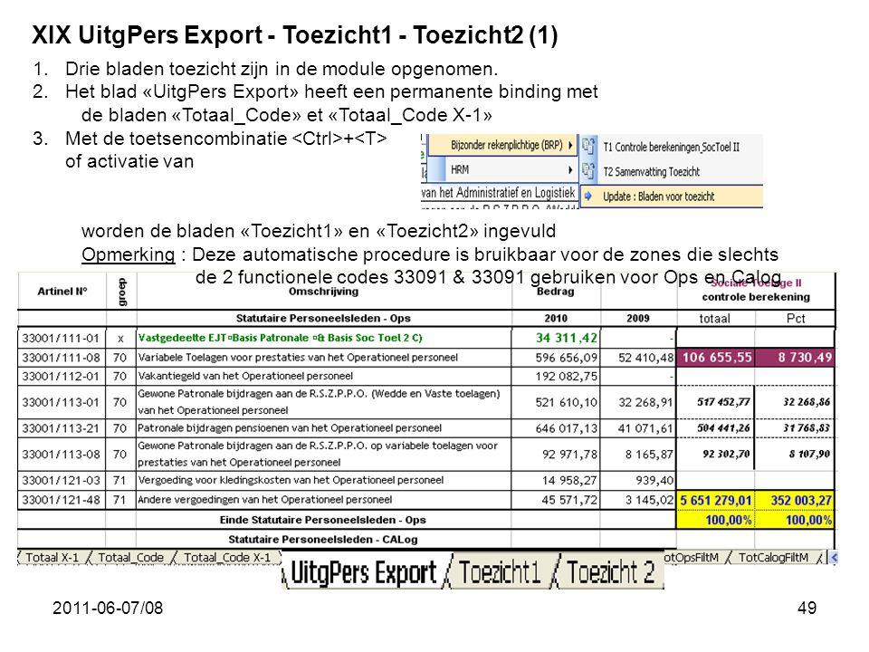 2011-06-07/0849 XIX UitgPers Export - Toezicht1 - Toezicht2 (1) 1.Drie bladen toezicht zijn in de module opgenomen. 2.Het blad «UitgPers Export» heeft