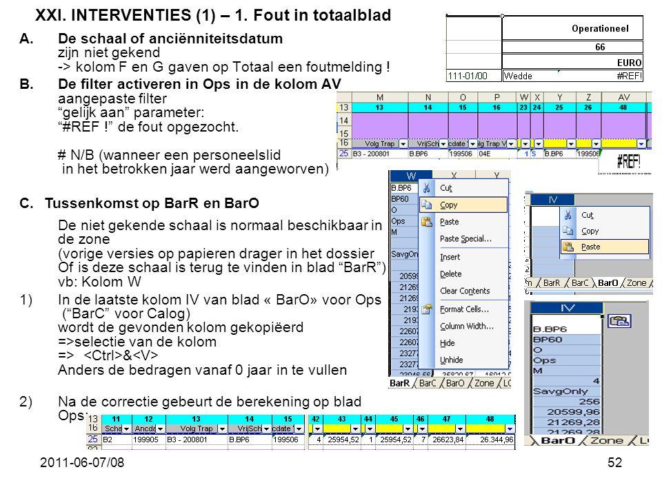 2011-06-07/0852 XXI. INTERVENTIES (1) – 1. Fout in totaalblad A.De schaal of anciënniteitsdatum zijn niet gekend -> kolom F en G gaven op Totaal een f