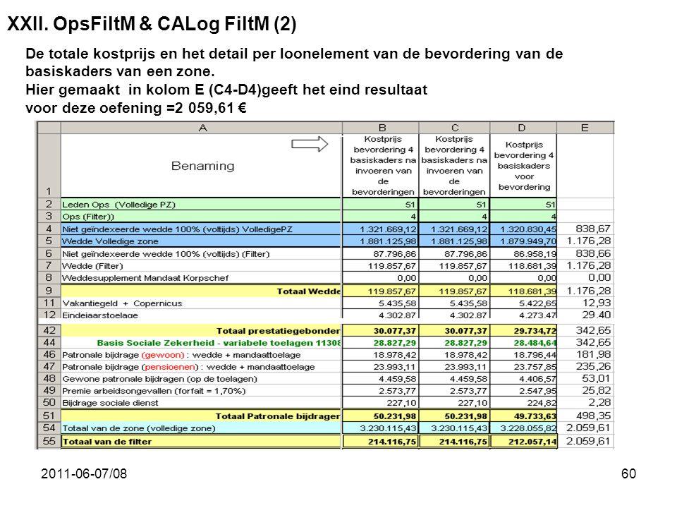 2011-06-07/0860 XXII. OpsFiltM & CALog FiltM (2) De totale kostprijs en het detail per loonelement van de bevordering van de basiskaders van een zone.