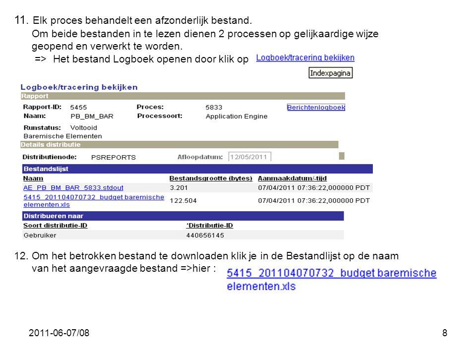 2011-06-07/088 11. Elk proces behandelt een afzonderlijk bestand. Om beide bestanden in te lezen dienen 2 processen op gelijkaardige wijze geopend en