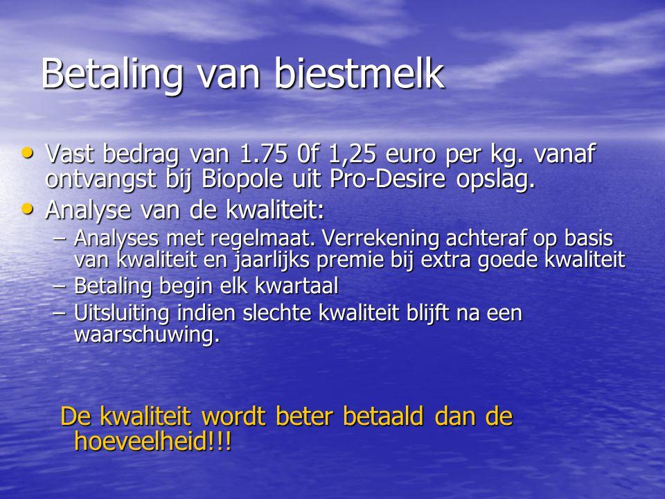 Betaling van biestmelk • Vast bedrag van 1.75 0f 1,25 euro per kg. vanaf ontvangst bij Biopole uit Pro-Desire opslag. • Analyse van de kwaliteit: –Ana
