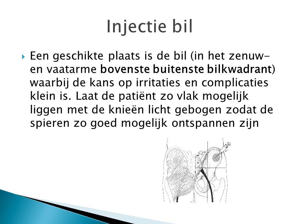 Injectie bil  Een geschikte plaats is de bil (in het zenuw- en vaatarme bovenste buitenste bilkwadrant) waarbij de kans op irritaties en complicaties