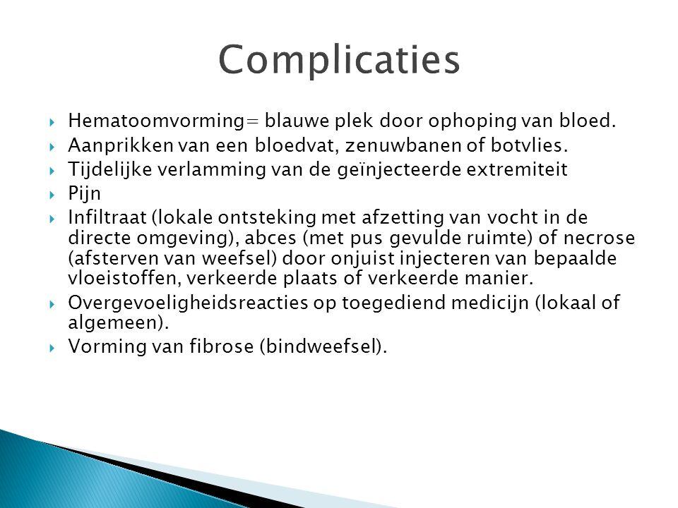 Complicaties  Hematoomvorming= blauwe plek door ophoping van bloed.  Aanprikken van een bloedvat, zenuwbanen of botvlies.  Tijdelijke verlamming va