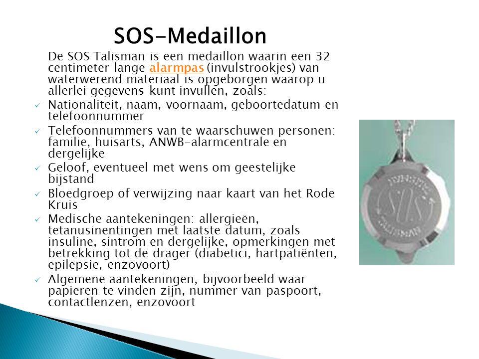 SOS-Medaillon De SOS Talisman is een medaillon waarin een 32 centimeter lange alarmpas (invulstrookjes) van waterwerend materiaal is opgeborgen waarop