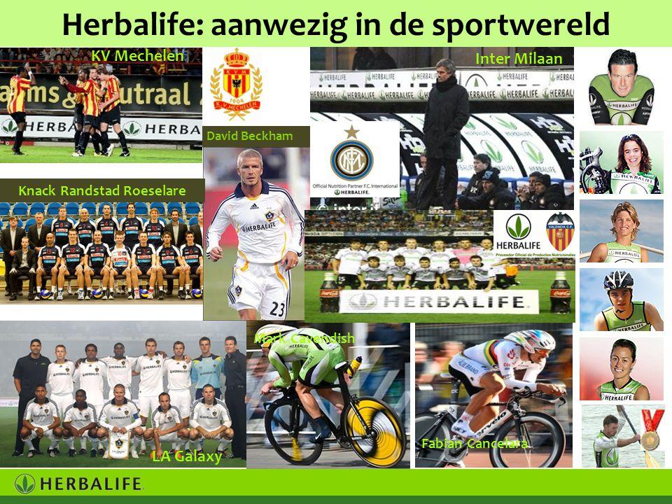 Herbalife: aanwezig in de sportwereld Mark Cavendish Inter Milaan KV Mechelen LA Galaxy David Beckham Knack Randstad Roeselare Fabian Cancelara